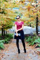 black ankle Zara boots - magenta Sugarlips dress - black Joe Fresh tights