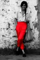red pants Zara pants - black shoes Zara shoes - bf shirt CODE shirt