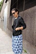 black leather Zara jacket - light blue printed acne shorts