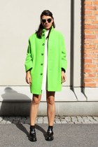 chartreuse acne jacket - ivory H&M Trend dress - black Super sunglasses