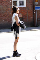 black acne boots - ivory H&M Trend dress - black Zara jacket - black acne bag
