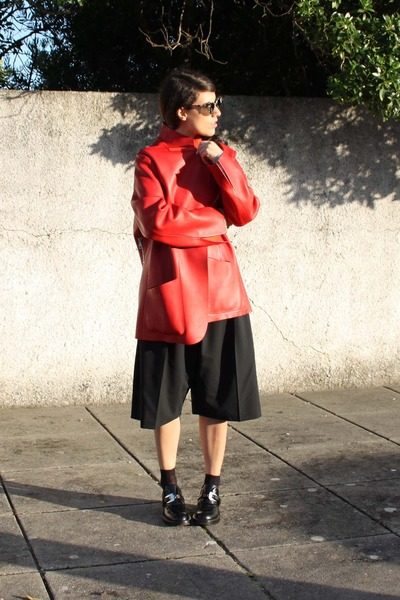 ruby red leather acne coat - black balenciaga shoes - black suit acne shorts