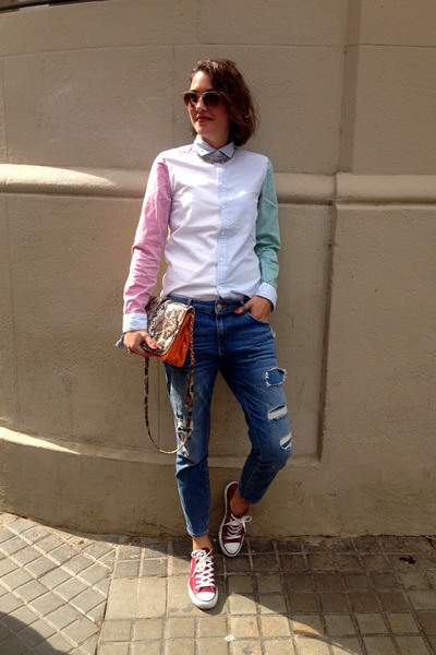 bubble gum straight H&M shirt - blue boyfriend jeans Zara jeans