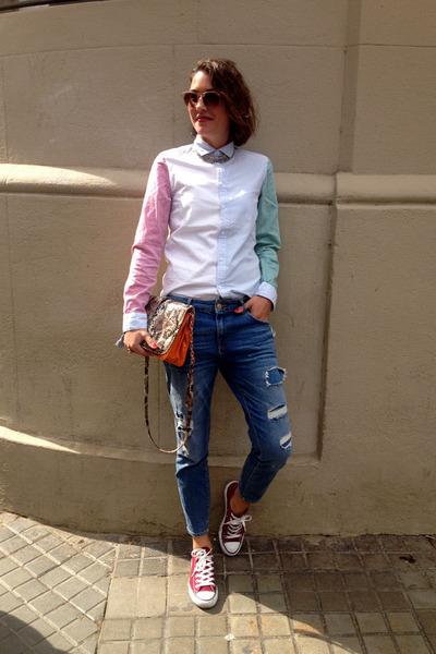bubble gum straight H&M shirt - blue boyfriend jeans Zara jeans