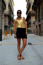 black mini skirt H&M Trend skirt - camel H&M Trend flats