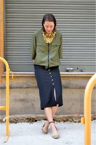 olive green bomber Mango jacket - black pencil skirt H&M Trend skirt