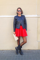 black leather H&M Trend jacket - ruby red volume mini H&M skirt