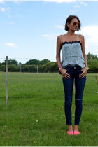 denim ripped Zara jeans - espadrilles Mono&me flats