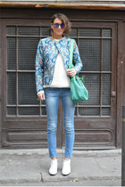 sky blue biker Stradivarius jacket - light blue denim Zara jeans