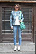 sky blue biker Stradivarius jacket - light blue denim Zara jeans
