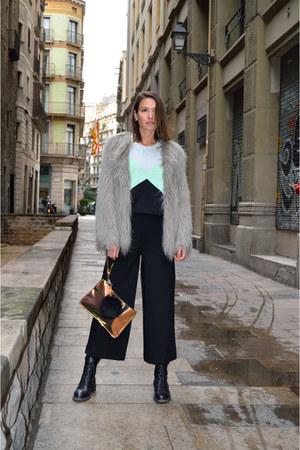 silver faux fur Zara coat - black cropped Zara pants