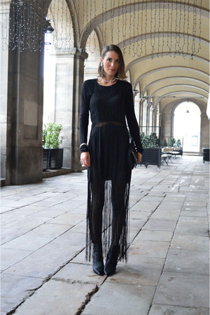 black fringed h&m divided dress