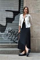 black midi splits & other stories dress - off white biker lace Sheinside jacket