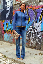 neoprene & other stories jacket - blue flared jeans Mango jeans