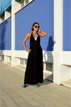 black maxi dress H&M dress - light blue statement Cubus necklace