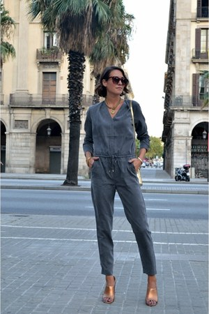 heather gray jumpsuit H&M Trend romper - tan mules Zara heels