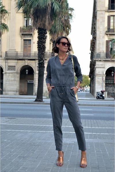 9e3786a4c95 heather gray jumpsuit H M Trend romper - tan mules Zara heels