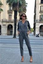 heather gray jumpsuit H&M Trend romper - tan mules Zara heels