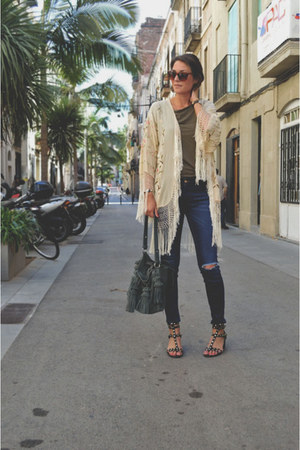 beige kimono vintage cardigan - olive green buckle H&M Trend bag