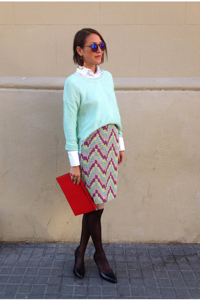 light purple pencil skirt Bimba & Lola skirt - aquamarine cropped H&M sweater