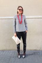 black Bershka pants - red chain vintage necklace