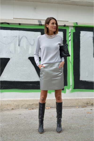 silver metallic H&M skirt - black knee-high boots Fornarina boots