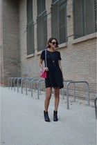 black lace Zara dress - black ankle boots acne boots