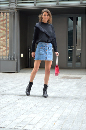 black fringe H&M Trend shirt - blue denim H&M Trend skirt