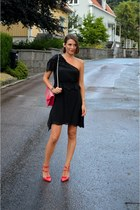 black one shoulder Diesel dress - hot pink studded Yves Saint Laurent bag