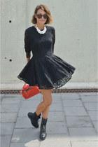 black lace H&M dress - black biker Zara boots