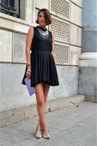 black cut out H&M Trend dress - periwinkle clutch Bimba & Lola bag
