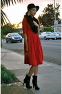 Black-f21-boots-red-vintage-dress-black-vintage-hat-black-h-m-scarf