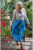 electric blue thrifted vintage skirt - angora thrifted vintage sweater