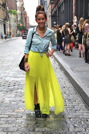chartreuse maxi Urban Outfitters dress - sky blue chambray American Eagle top