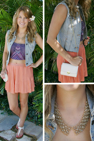white H&M bag - pleated free people shorts - denim DIY vest
