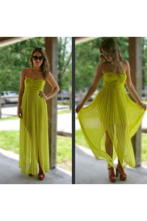 chartreuse maxi dress Silence & Noise dress - gray round unknown sunglasses