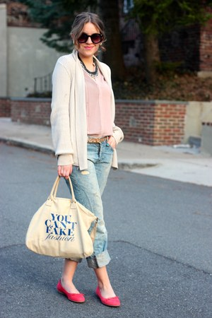 light blue boyfriend jeans H&M jeans - beige Ebay bag