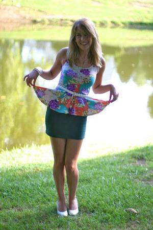 purple peplum Marshalls top - beige vintage heels - dark green Forever21 skirt