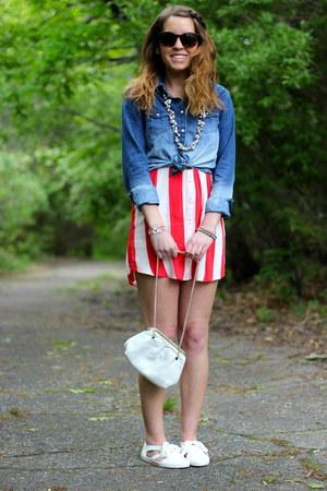 chambray American Eagle shirt - red stripe Forever 21 dress - ivory vintage bag