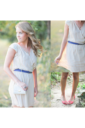 tan striped Sugarlips dress - white H&M bag - blue Forever 21 belt