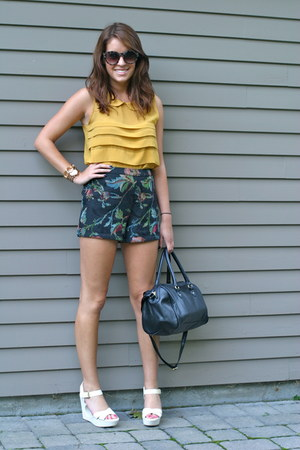 mustard Forever 21 top - black H&M bag - navy embroidered thrifted shorts