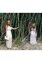 neutral maxi dress - eggshell vintage bag - pendant Forever21 necklace