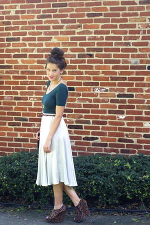 dark brown leopard print Bakers wedges - silver vintage skirt