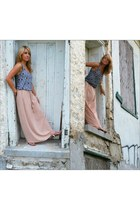 salmon maxi skirt - teal tank top