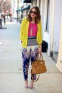 Brown-michael-kors-bag-deep-purple-printed-forever-21-pants