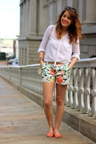 carrot orange printed Gap shorts - white button down Urban Outfitters shirt