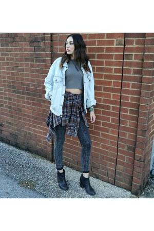 denim vintage jacket - skinny H&M jeans - flannel vintage shirt