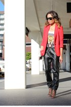 red Zara blazer - clutch hello parry bag - leopard print H&M top