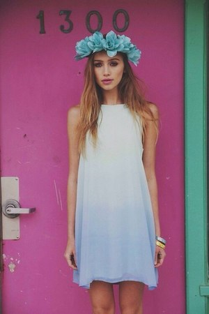 white Choies dress - sky blue Forever 21 hair accessory