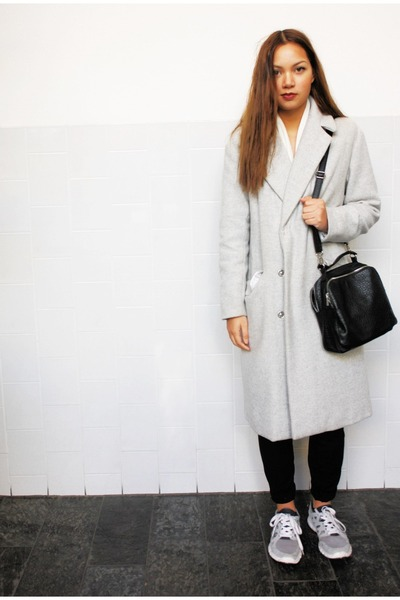 silver H&M coat - black Primark bag - silver nike sneakers - black H&M pants